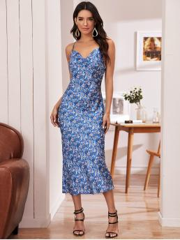 Elegant Cami Floral Straight Regular Fit Spaghetti Strap Sleeveless Natural Blue Long Length Crisscross Back Draped Neck Ditsy Floral Satin Dress