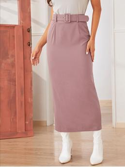 Elegant Straight Plain High Waist Pink Long/Full Length Solid Split Back Buckle Belted Skirt with Belt