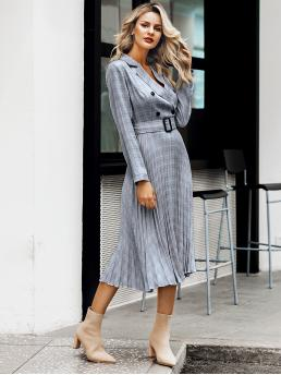 Elegant A Line Plaid Pleated Regular Fit Lapel Long Sleeve Regular Sleeve High Waist Grey Long Length Simplee Plaid Double Button Pleated Hem Buckle Belt Dress with Belt