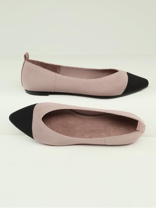 Ballet Point Toe Colorblock Dusty Pink Contrast Toe Cap Two Tone Knit Slip On Flats