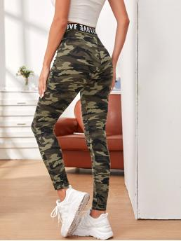 Multicolor Tape Regular Camo Letter Waist Leggings Ladies
