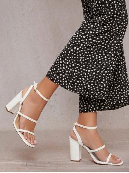 White Strappy Sandals High Heel Chunky Faux Leather Open-toe Strappy Block Heels Discount
