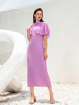 Lilac Purple Plain Pleated Stand Collar Solid Cape Dress Sale