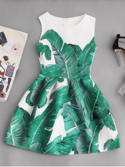 Multicolor Tropical Zipper Round Neck Palm Leaf Print Embossed Fit & Flare Dress Discount