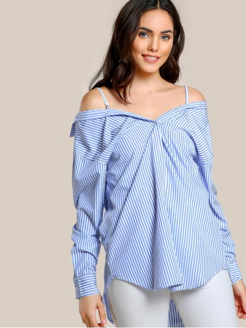 Long Sleeve Shirt Button Polyester off Shoulder up Top Navy White Ladies