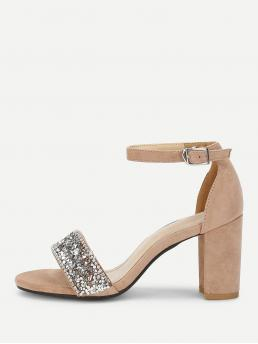Comfort Open Toe Ankle Strap Apricot High Heel Chunky Rhinestone Decorated Block Heeled Sandals