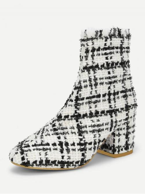 Clearance Corduroy Black and White Stretch Boots Buckle Ankle Boots