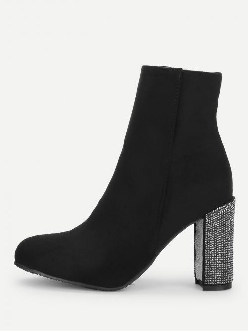 Polyester Black Stretch Boots Buckle Rhinestone Decorated Heel Boots Clearance