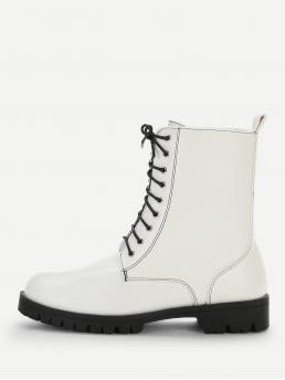 Comfort Lace-up Boots Round Toe No zipper White Chunky Plain Studded Detail Lace-up Boots