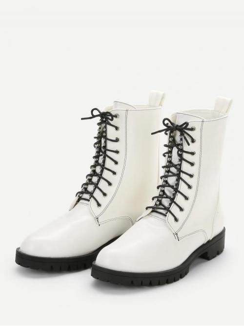 Women's Velvet White Pullovers Contrast Sequin Studded Detail Lace-up Boots