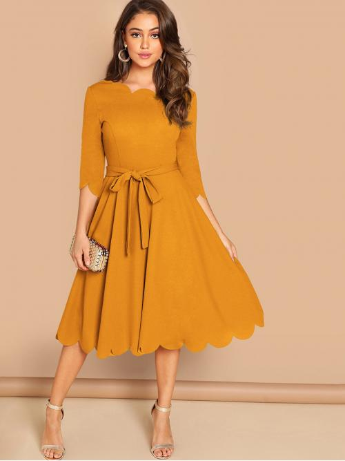 Plain Regular Fit Round Neck Half Sleeve Natural Yellow Midi Length Scallop Edge Skater Belted Dress with Belt