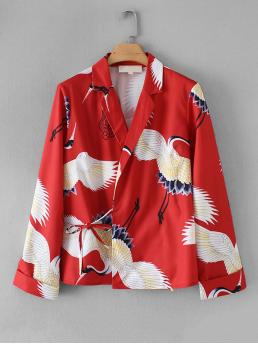 Casual Animal Shirt Regular Fit Notched Long Sleeve Placket Red Regular Length Crane Print Knot Side Blouse