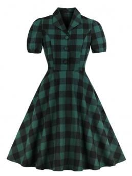 Vintage Fit and Flare Gingham Ball Gown Regular Fit Collar Short Sleeve Natural Green Midi Length 50s Button Front Plaid Flare Dress