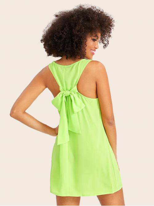 Casual Tunic Plain Straight Loose Scoop Neck Sleeveless Natural Green and Bright Mini Length Neon Lime Tie Back Tank Dress