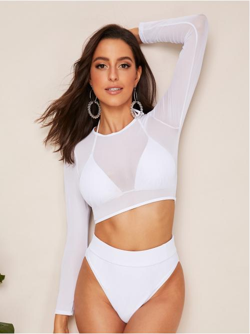 Plain Wireless Halter Top and High Neck White 3pack High Waisted Bikini Swimsuit & Sheer Mesh Top with Lining