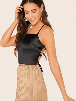 Glamorous and Sexy Cami Plain Slim Fit Halter Top Black Regular Length Lace Up Backless Satin Halter Top
