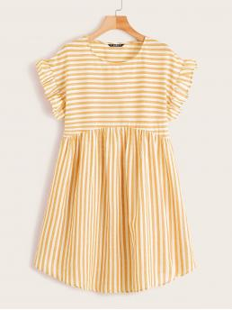 Cute Smock Striped Straight Loose Round Neck Short Sleeve High Waist Yellow and Pastel Short Length Ruffle Trim Striped Smock Dress