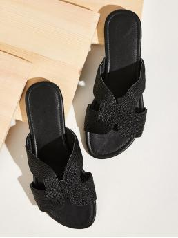 Comfort Black Open Toe Cut Out Sliders
