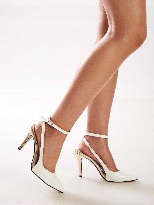 Business Casual Ankle Strap White Stiletto Point Toe Ankle Strap Stiletto Heels