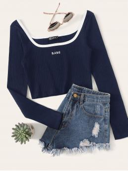 Sexy Letter Slim Fit Scoop Neck Long Sleeve Regular Sleeve Pullovers Navy Crop Length Contrast Trim Embroidered Letter Rib-knit Top