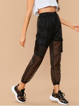 Sporty Plain Tapered/Carrot Regular Elastic Waist High Waist Black Cropped Length Flap Pocket Sheer Organza Pants