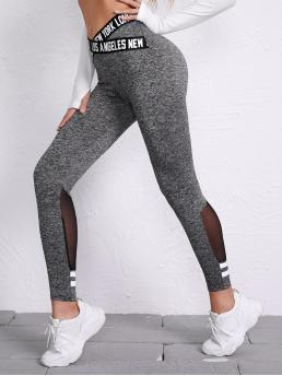Womens Grey Tape Regular Letter Crisscross Detail Mesh Insert Leggings