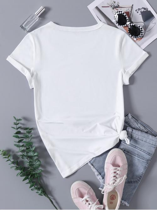 Beautiful Short Sleeve Cotton Blends Plants White Cactus Print Crew Neck Tee