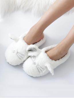 Women's Corduroy White Slides Pom Pom Fluffy Animal Slippers