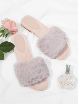 Comfort Slippers Open Toe Pink Faux Fur Slides