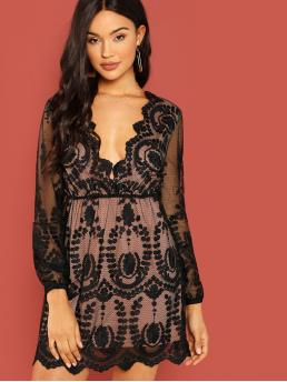 Sexy Loose Deep V Neck Long Sleeve High Waist Black Short Length Plunging Neck Embroidered Mesh Dress with Lining