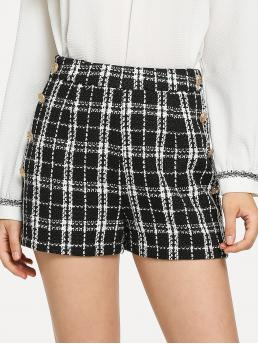 Casual Plaid Straight Leg Regular Zipper Fly Mid Waist Black and White Double Breasted Tweed Shorts