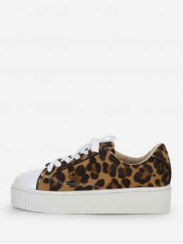 Other Round Toe Leopard Multicolor Leopard Print Lace Up Sneakers