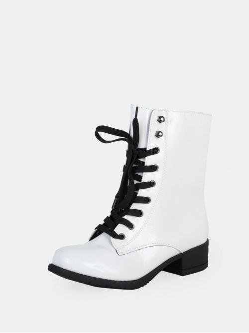 Corduroy White Stretch Boots Pearls Lace up Patent Military Style Boots on Sale