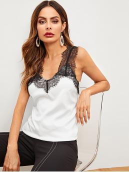 Elegant Tank Regular Fit Straps White Regular Length Lace Panel Cami Top