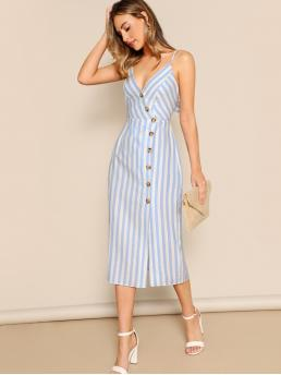 Casual Cami Striped Spaghetti Strap Sleeveless Natural Blue Long Length Button Front Back Cut Out Tie Stripe Midi Dress