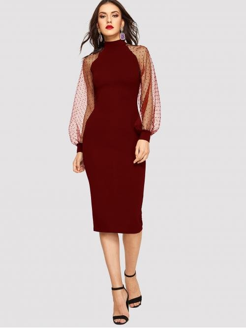 Elegant Bodycon Plain Slim Fit Stand Collar Long Sleeve Natural Burgundy Midi Length Jacquard Mesh Raglan Sleeve Pencil Dress