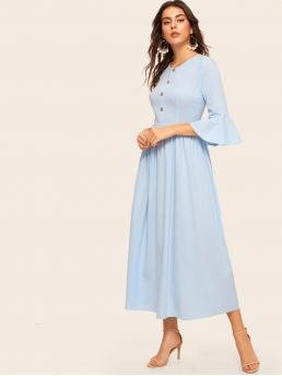 Elegant A Line Plain Flared Regular Fit Round Neck Three Quarter Length Sleeve Flounce Sleeve Natural Blue Long Length Button Front Trumpet Sleeve Flowy Dress
