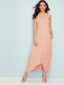 Casual Tank Plain Asymmetrical Loose V neck Sleeveless Natural Pink and Pastel Long Length Pocket Side Dip Hem Dress