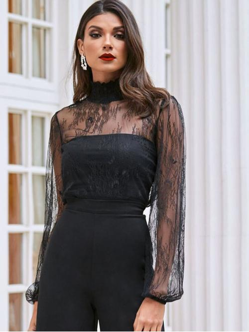 Discount Long Sleeve Top Shirred Lace Neck Lantern Sleeve Top Without Bandeau