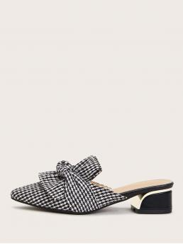 Comfort Houndstooth Black and White Low Heel Point Toe Houndstooth Heeled Mules