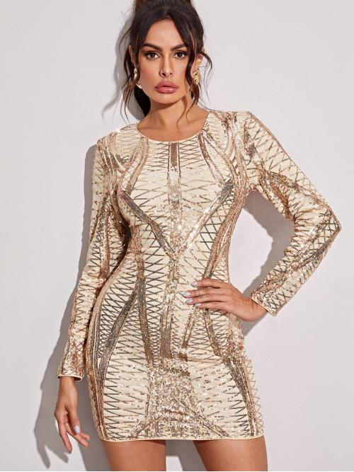 Glamorous Bodycon Geometric Pencil Slim Fit Round Neck Long Sleeve Regular Sleeve Natural Gold Short Length Zip Back Geo Sequin Bodycon Dress with Lining