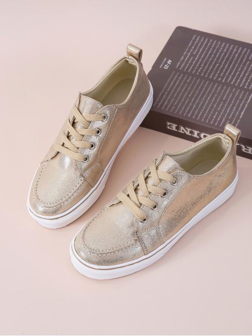Discount Gold Skate Shoes Round Toe Low-top Metallic Front Skate Shoes