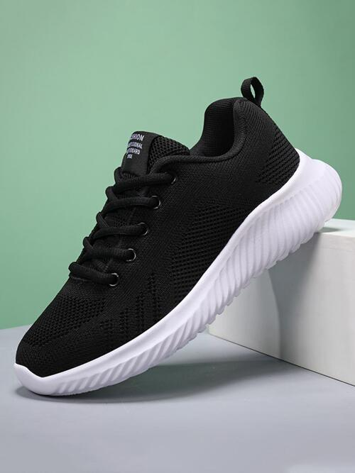 Black Running Shoes Lace up Round Toe Breathable Front Running Shoes Ladies