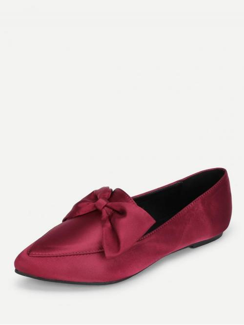 Ladies Corduroy Burgundy Loafers Bow Decorated Flats