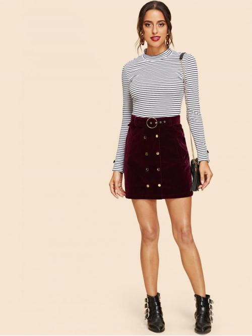 Fashion Burgundy Natural Waist Double Button a Line Skirt
