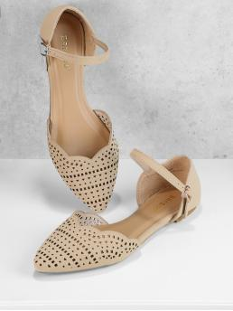 Casual Point Toe Ankle Strap Nude Cut Out Detail Scalloped Edge Ankle Strap Flats