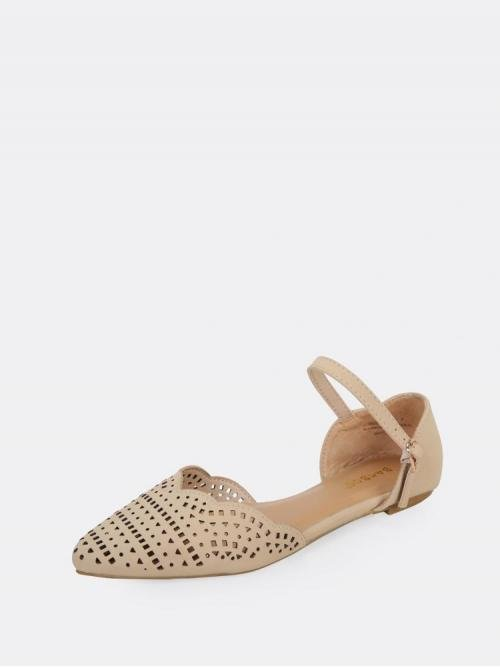 Satin Apricot Hollow Mid Heel Cut out Detail Scalloped Edge Flats Clearance