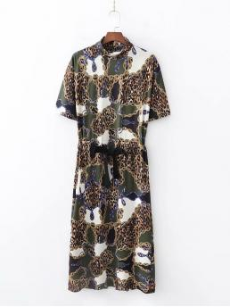 Casual Tunic Leopard and Chain Print Straight High Neck Short Sleeve Natural Green Long Length Chain & Leopard Print Dress