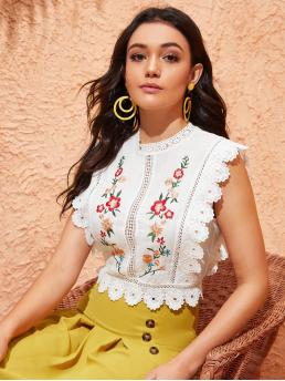 Boho Floral Top Slim Fit Stand Collar Sleeveless Pullovers White Crop Length Mock-Neck Guipure Lace Trim Embroidery Top