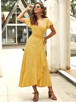 Boho A Line Ditsy Floral Regular Fit V neck Short Sleeve High Waist Yellow Long Length Surplice Neck Ditsy Floral Tie Front Ruffle Wrap Dress